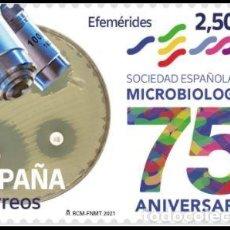 Sellos: ESPAÑA 2021 75 ANIV SOCIEDAD ESPAÑOLA DE MICROBIOLOGÍA MNH ED 5530 YT 5270. Lote 294810543