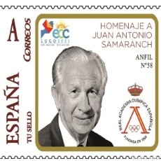 Sellos: ESPAÑA 2021 - TU SELLO HOMENAJE A JUAN ANTONIO SAMARANCH EXFILNA ECC LUGO - ANFIL 58. Lote 295743788