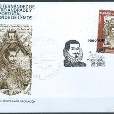 Sellos: ESPAÑA 2021 PEDRO FERNÁNDEZ DE CASTRO ANDRADE Y PORTUGAL. VII CONDE DE LEMOS FDC ED 5532 YT 5272. Lote 296817803