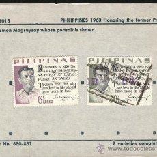 Sellos: SELLOS DE FILIPINAS 1963 PHILIPINES SCOTT NO 880-881 EN HONOR DEL PRESIDENTE RAMÓN MAGSAYSAY. Lote 26774559