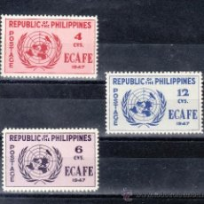 Sellos: FILIPINAS 335/7 CON CHARNELA, CONFERENCIA COMISION ECONOMICA ASIA Y EXTREMO ORIENTE. Lote 25611926