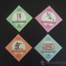 Selos: FILIPINAS Nº YVERT 506/7 + AEREO 61/2*** AÑO 1960. DEPORTES. JUEGOS OLIMPICOS DE ROMA. Lote 34693363