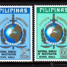 Sellos: FILIPINAS 943/44** - AÑO 1973 - 50º ANIVERSARIO DE INTERPOL. Lote 43955663