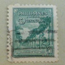 Sellos: FILIPINAS 1946 50 CENTAVOS.COLONNADE OF PALM TREES. Lote 47577907