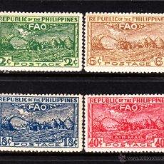 Sellos: FILIPINAS 341/43 Y AEREO 38* - AÑO 1948 - CONFERENCIA DE LA ORGANIZACION ALIMENTARIA INTERNACIONAL. Lote 49646084