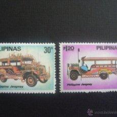 Sellos: FILIPINAS Nº YVERT 1192/3*** AÑO 1980. AUTOMOVILES JEEPNEY. Lote 148592885