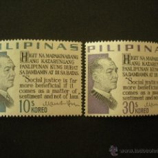 Sellos: FILIPINAS 1967 IVERT 678/9 *** PRESIDENTE MANUEL L. QUEZON - PERSONAJES. Lote 50891555