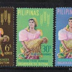 Sellos: FILIPINAS 589 Y AÉREO 64/65** - AÑO 1963 - CAMPAÑA MUNDIAL CONTRA EL HAMBRE. Lote 57027587