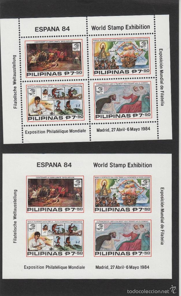 FILIPINAS . EXPOSICION FILATELIA MUNDIAL ESPAÑA 84 . AÑO 1984 HOJITA DENTADA Y SIN DENTAR - HB 19 (Sellos - Extranjero - Asia - Filipinas)