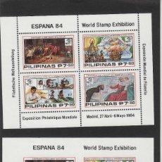 Sellos: FILIPINAS . EXPOSICION FILATELIA MUNDIAL ESPAÑA 84 . AÑO 1984 HOJITA DENTADA Y SIN DENTAR - HB 19. Lote 61019999