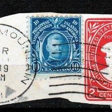 Sellos: 1939.ESTADOS UNIDOS DE AMERICA.ISLAS FILIPINAS. FRAGMENTO ENTERO POSTAL CON SELLO DE 1906.. Lote 63782555