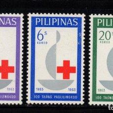 Sellos: FILIPINAS 570/72** - AÑO 1963 - CENTENARIO DE LA CRUZ ROJA INTERNACIONAL. Lote 241138075