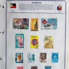 Sellos: FILIPINAS, 2 HOJAS CON 34 SELLOS USADOS DIFERENTES CON CHARNELAS, VER FOTOS . Lote 99279679