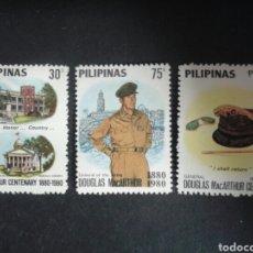 Sellos: FILIPINAS. YVERT 1167/9. SERIE COMPLETA *** SEGUNDA GUERRA MUNDIAL. GENERAL DOUGLAS MAC-ARTHUR.. Lote 103548564