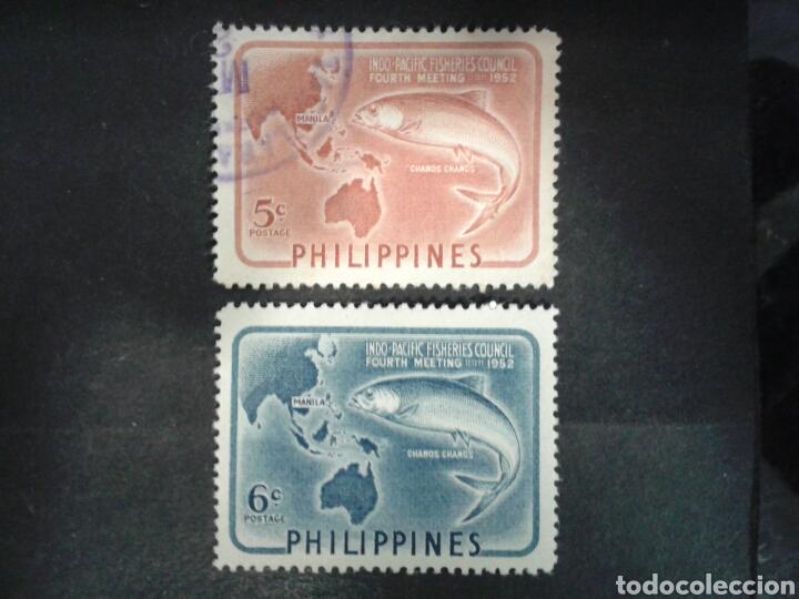 FILIPINAS. YVERT 403/4. SERIE COMPLETA SELLOS USADOS Y NUEVOS CON CHARNELA. PESCA. (Sellos - Extranjero - Asia - Filipinas)