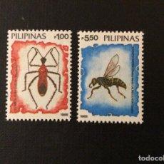 Sellos: FILIPINAS Nº YVERT 1606/7***AÑO 1988. FAUNA INSECTOS. Lote 109124543