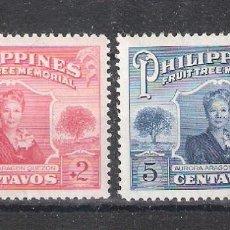 Sellos: FILIPINAS Nº 401/402** FUNDACIÓN AURORA ARAGÓN QUEZÓN. SERIE COMPLETA. Lote 114640735