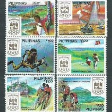 Sellos: FILIPINAS 1988 - DEPORTES - VELA - GOLF - CICLISMO - PESCA - MONTAÑISMO -YVERT Nº 1623-1628**. Lote 121792723