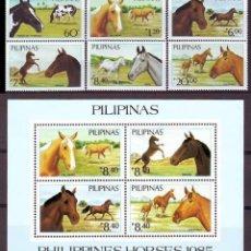 Sellos: FILIPINAS 1985 - CABALLOS - YVERT Nº 1443.1448**+ HB-23. Lote 121963707