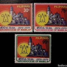 Sellos: FILIPINAS. YVERT 1135/7. SERIE COMPLETA NUEVA SIN CHARNELA. CATEDRAL DE MANILA. Lote 133782018