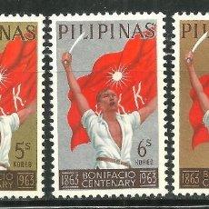 Sellos: FILIPINAS 1963 IVERT 584/86 *** CENTENARIO DEL NACIMIENTO DE ANDRES BONIFACIO. Lote 145970958