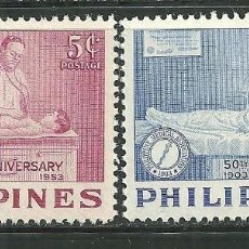 Sellos: FILIPINAS 1953 IVERT 414/5 *** 50º ANIVERSARIO DE LA ASOCIACIÓN MEDICA - MEDICINA. Lote 147312482
