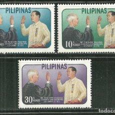 Sellos: FILIPINAS 1962 IVERT 547/49 *** ANIVERSARIO DE LA PRESIDENCIA DE DIORDADO MACAPAGAL. Lote 150799870