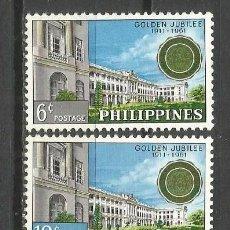 Sellos: FILIPINAS 1961 IVERT 516/17 *** CENTENARIO DEL COLEGIO SAN JUAN BAUTIASTA DE LA SALLE EN MANILA. Lote 156289006