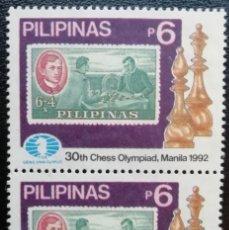 Sellos: 1992. DEPORTES. FILIPINAS. 1891 (2). SELLOS EN PAREJA. OLIMPIADA AJEDREZ MANILA. NUEVO.. Lote 159106514