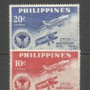 Sellos: FILIPINAS CORREO AEREO YVERT NUM. 59/60 * SERIE COMPLETA CON FIJASELLOS. Lote 159493606