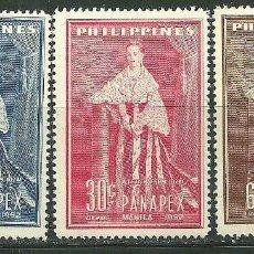 Sellos: FILIPINAS 1952 IVERT 405/6 Y AEREO 46 *** 1ª EXPOSICIÓN FILATÉLICA PANASIATICA EN MANILA. Lote 159997318