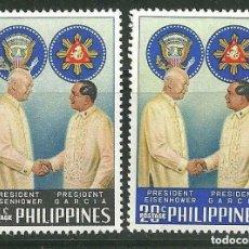 Sellos: FILIPINAS 1960 IVERT 508/9 *** VISITA DEL PRESIDENTE EISENHOWER. Lote 161668570