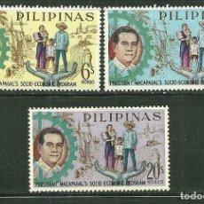 Sellos: FILIPINAS 1963 IVERT 581/83 *** PLAN QUINCENAL MACAPAGAL POR EL DESARROLLO ECONÓMICO. Lote 161669190