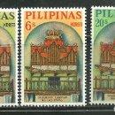 Sellos: FILIPINAS 1964 IVERT 590/92 *** ORGANOS DE BAMBÚ DE LA IGLESIA DE LAS PINAS. Lote 162699986