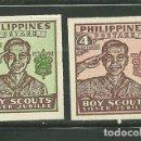 Sellos: FILIPINAS 1949 IVERT 351/52 *** 25º ANIVERSARIO DEL SCOUTISMO. Lote 163037602