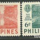 Sellos: FILIPINAS 1953 IVERT 407/8 *** 3ª CONFERENCIA DE DISTRITO DEL LIONS INTERNACIONAL. Lote 163038142