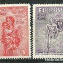 Sellos: FILIPINAS 1950 IVERT 374/5 *** EN FAVOR DE LAS VICTIMAS DE LA 2º GUERRA MUNDIAL. Lote 165169686