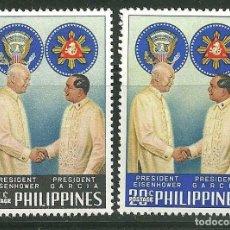 Sellos: FILIPINAS 1960 IVERT 508/9 *** VISITA DEL PRESIDENTE EISENHOWER. Lote 165170226