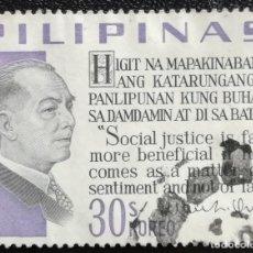 Sellos: 1967. HISTORIA. FILIPINAS. 679. PRESIDENTE MANUEL L. QUEZÓN. SERIE CORTA. USADO.. Lote 167920308