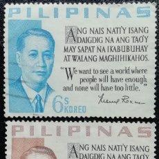 Sellos: 1963. HISTORIA. FILIPINAS. 565 / 566. PRESIDENTE MANUEL A. ROXAS. SERIE COMPLETA. USADO.. Lote 167920992