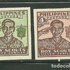 Sellos: FILIPINAS 1949 IVERT 351/52 *** 25º ANIVERSARIO DEL SCOUTISMO. Lote 171677949