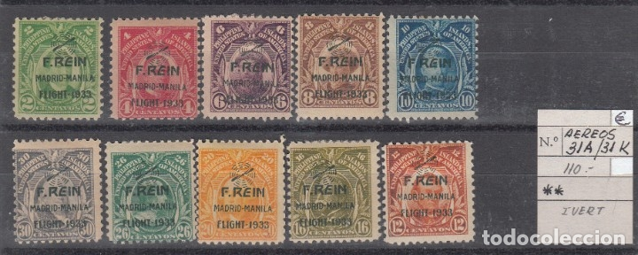 FILIPINAS E.E.U.U. AEREOS - VUELO MADRID MANILA - 1933 NUMS. 31A A 31K - NUEVOS CON FIJASELLOS (Sellos - Extranjero - Asia - Filipinas)