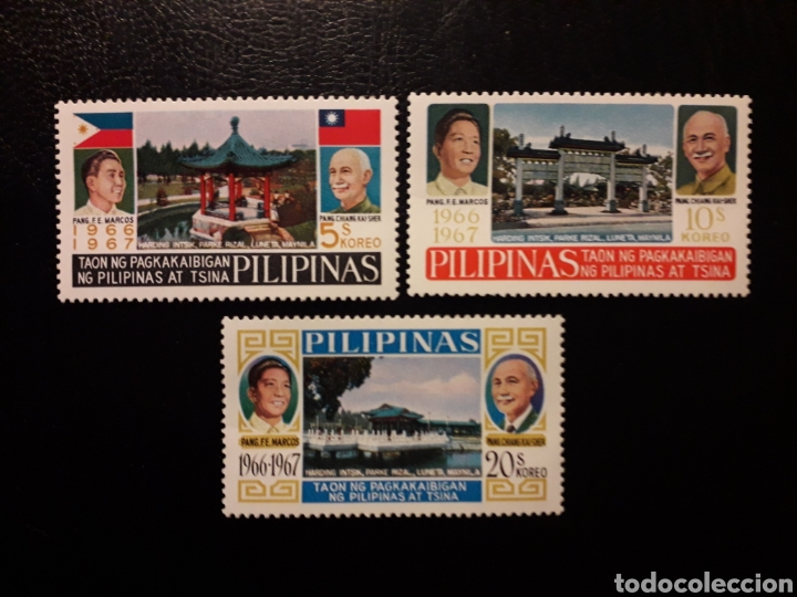 FILIPINAS. YVERT 685/7 SERIE COMPLETA NUEVA CON CHARNELA. PRESIDENTE MARCOS Y TCHANG KAI CHEK. (Sellos - Extranjero - Asia - Filipinas)