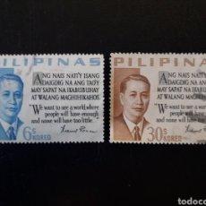 Timbres: FILIPINAS. YVERT 565/6 SERIE COMPLETA USADA. PRESIDENTE MANUEL A. ROXAS.. Lote 182753848