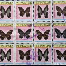 Sellos: FILIPINAS, BLOQUES DE 12 SELLOS USADOS DE MARIPOSAS. Lote 191995040