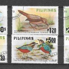 Selos: FILIPINAS,1979,PÁJAROS DE FILIPINAS,YVERT 1110-1115,USADOS. Lote 204793851
