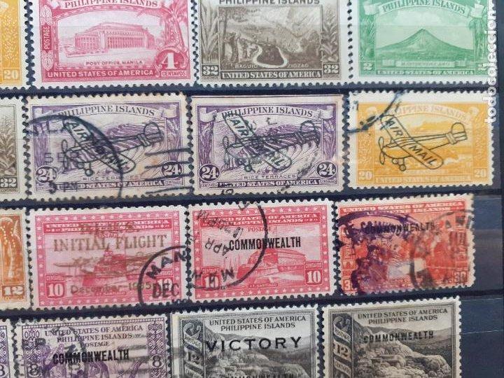 Sellos: Philippine Islands. Filipinas. Administración de Estados Unidos. 63 sellos. Raros algunos. Aéreos - Foto 2 - 205854300