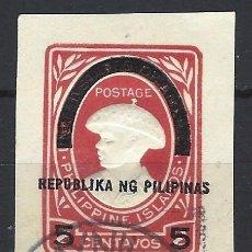 Sellos: FILIPINAS - SELLO IMPRESO EN PAPEL Y SOBREIMPRESO EN NEGRO - USADO. Lote 210600631
