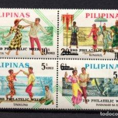 Sellos: FILIPINAS 755/58** - AÑO 1969 - FOLKLORE - SEMANA FILATELICA. Lote 217260411
