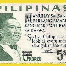 Selos: FILIPINAS. 1968. PRESIDENTE ELPIDIO QUIRINO. SOBRECARGA. Lote 223770707